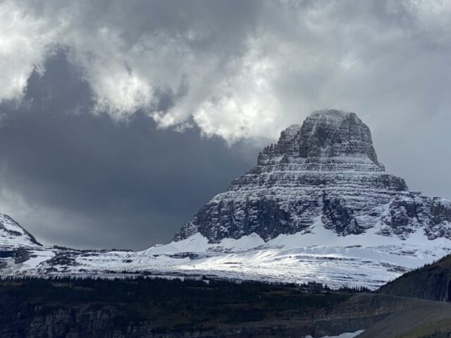Mountain with snow and dark sky