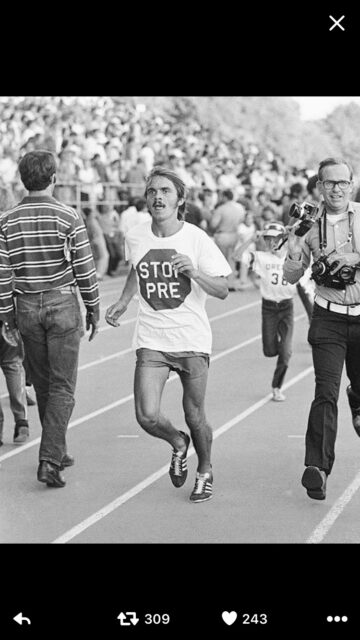 Steve Prefontaine wearing a stop pre T-shirt
