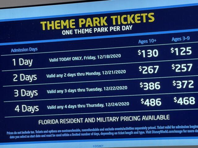 Disney park ticket price chart