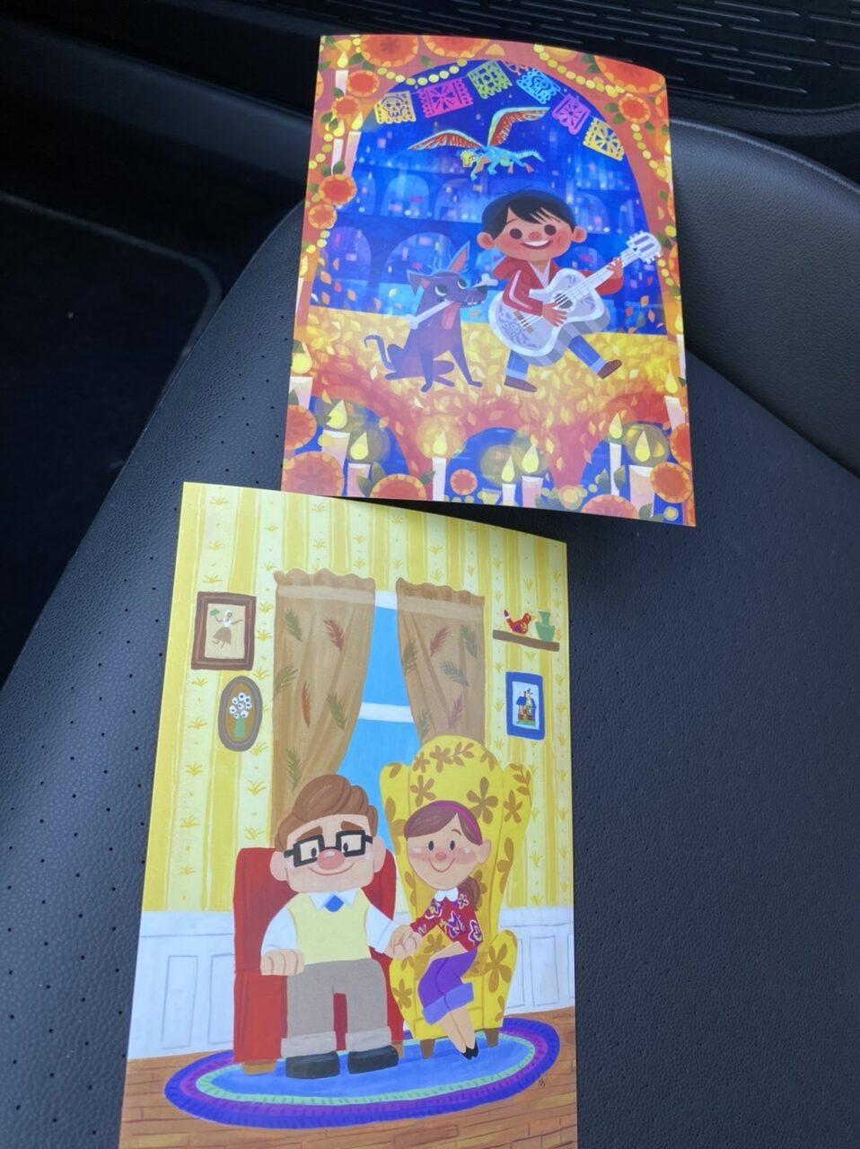 2 Pixar postcards