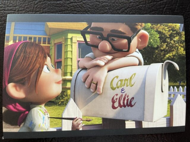 Postcard featuring Carl and Ellie from the movie UP