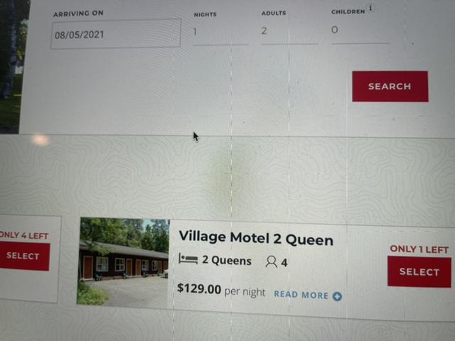 Motel availability screen shot