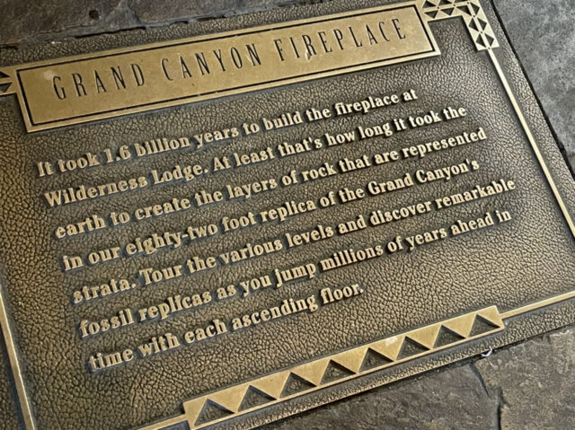 Disney's Grand Canyon Fireplace floor sign