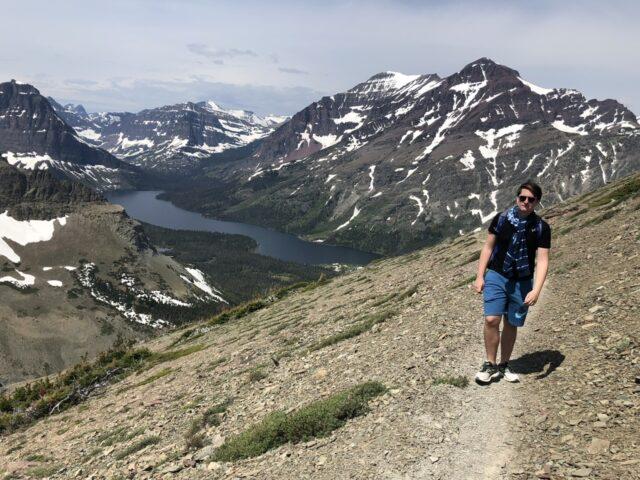 Man walking on Mountain Trail