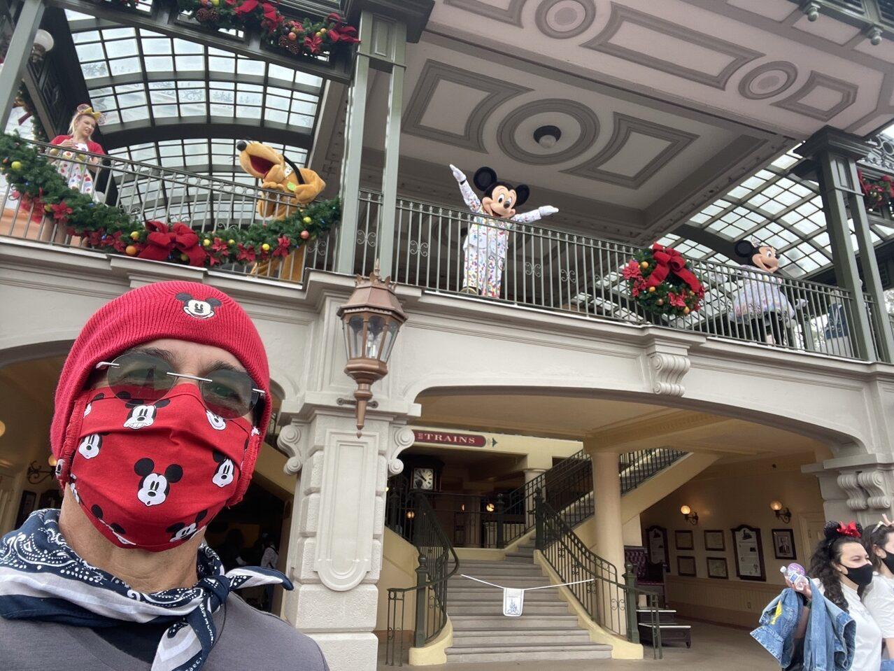 Disney characters at Train Station