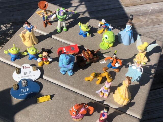 Disney character toys and Cast Member name tags