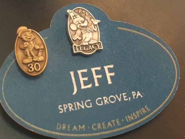 Disney Legacy name tag with 30-year service pin