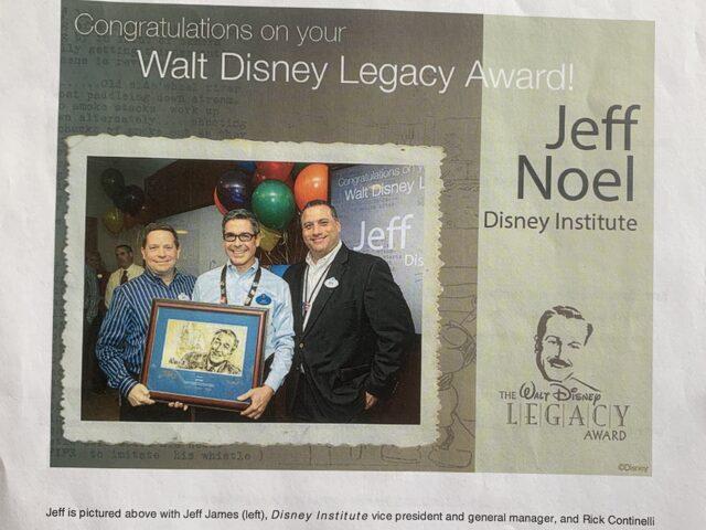 Disney Institute's first Legacy Award recipient, 2013