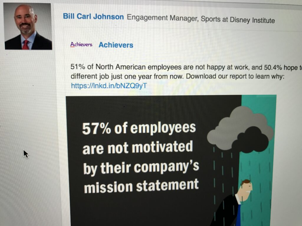 Social media screen shot about employee engagement