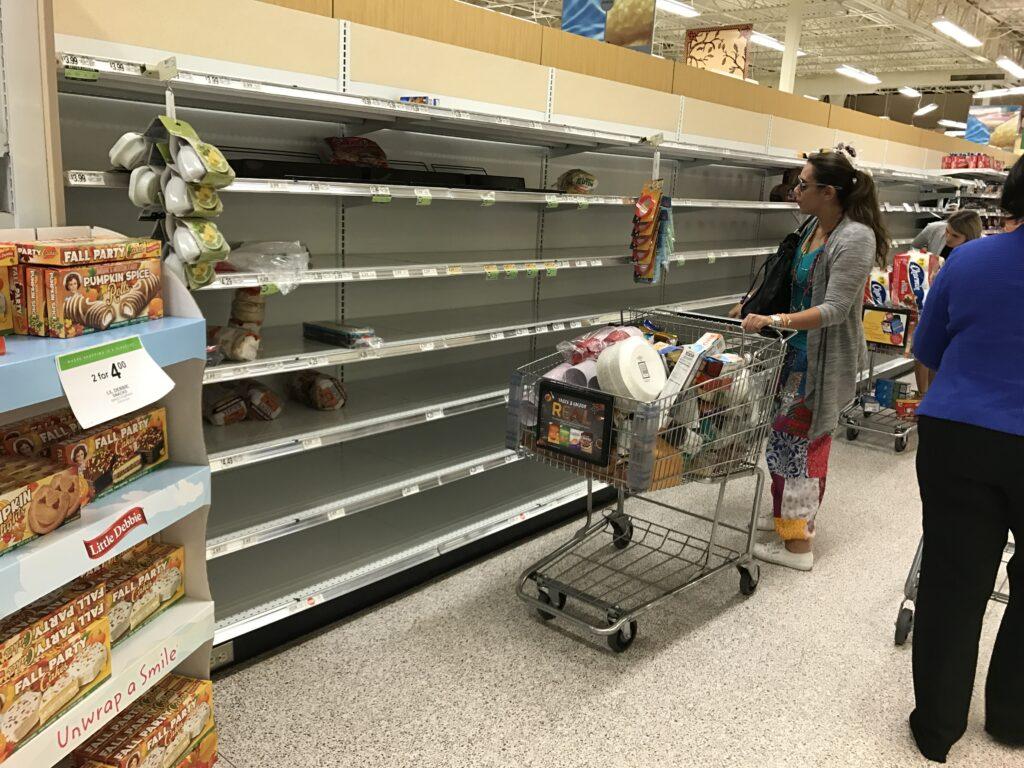 Bare grocery store shelves