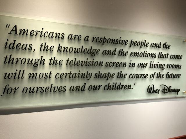 Walt Disney quote on wall